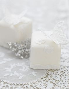 White butterfly mini cakes.