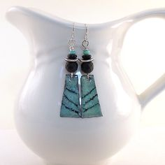 Black Onyx and Aqua Earrings  Enameled Artisan by CinLynnBoutique