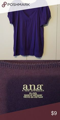 A.N.A. Purple V Neck top Size XL V Neck. Purple in color. Size XL.  Like new. Really cute with shorts or jeans. a.n.a Tops Tees - Short Sleeve