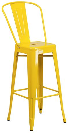 High Yellow Metal Barstool w/ Back & Wood Seat - Flash Furniture high back, Bistro style bar stool will give your dining room or bar decor a refreshing rustic feel with its metal and wood features.This stylish metal stool fea Metal Stool, Metal Bar Stools, Counter Height Stools, Metal Chairs, Indoor Outdoor, Outdoor Stools, Outdoor Living, Mid Century Bar Stools, Stools With Backs