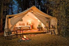 Glamping at Fireside Resort at Jackson Hole Campground, Jackson Hole, Wyoming. This is my kind of 'glamping'! Outdoor Fun, Outdoor Spaces, Outdoor Living, Tent Living, Outdoor Bedroom, Living Rooms, Outdoor Retreat, House Rooms, Living Spaces
