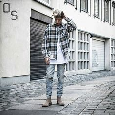 #OutfitSociety via @dailystreetlooks Presents @sorry_not_fame BV Lifestyle: Shirt: Val Kristopher T-shirt: H&M Denim Jeans: Favela Chelsea Boots: Bottega Veneta