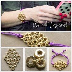 DIY Hex Nut Diamond Bracelet : DIY Fashion by Trinkets in Bloom Ava here it is Jewelry Crafts, Handmade Jewelry, Recycled Jewelry, Jewelry Ideas, Bracelet Crafts, Jewelry Supplies, Nut Bracelet, Washer Bracelet, Armband Diy