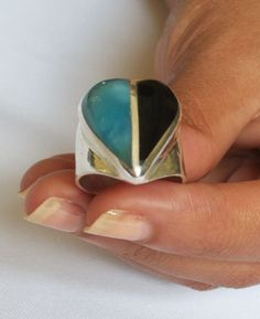 DOMINICAN MARBLED HEART-SHAPED LARIMAR BLACK CORAL SILVER RING SIZE 8.50 JEWELRY #DominicanLarimarStoneDominicanBlackCoral