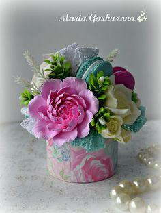 Floral arrangement, home decoration, polymer clay flowers decorations, flower decoration, macaron, macaroon composition