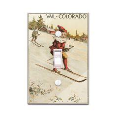 Vail, Colorado - Santa Skiing - Vintage Artwork (Light Switchplate Cover)
