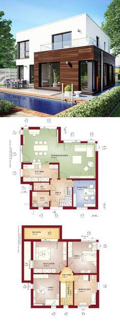 Bauhaus city villa moderno com telhado plano Architektur & Erker Anbau - Grundriss Ha . - h o u s e s - Arquitetura Dream House Plans, Modern House Plans, Modern House Design, House Floor Plans, Architecture Résidentielle, Villa Plan, House Blueprints, Flat Roof, House Layouts