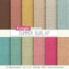 "Summer digital paper: ""SUMMER BURLAP"" with burlap / canvas / linen textures in bright summer shades  happy digital fabric texture #patterns #scrapbooking"