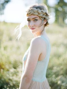 Loose halo braid by Amanda Gros | Image by Austin Gros | gown by Crista Hooven