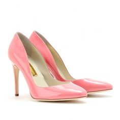 Rupert Sanderson Winona Patent Leather Pumps ($389) ❤ liked on Polyvore featuring shoes, pumps, heels, petalo, pink patent leather pumps, heels stilettos, high heels stilettos, high heel pumps and pink stilettos
