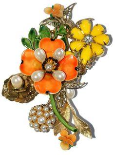 Original By Robert Enamel OOAK Floral Pin Brooch