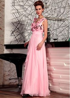 Edgy V-neck A-line Floor-length Circle Special Occasion Dresses