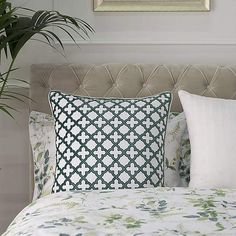 Created using cotton, this white Dorma cushion is decorated with a striking applique pattern in green and is finished with piped edging. Oxford Fabric, Soft Furnishings, Botanical Gardens, Pattern Fashion, Home Accessories, Pillow Cases, Cushions, Colours, Throw Pillows