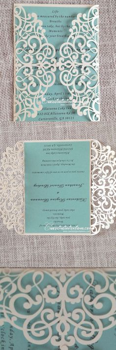 tiffany blue laser cut wedding invitations, laser cut wedding invitations, wedding invitations, wedding cards, www. Laser Cut Wedding Invitations, Wedding Stationary, Wedding Invitation Cards, Wedding Cards, Diy Wedding, Dream Wedding, Wedding Day, Trendy Wedding, Laser Cut Invitation