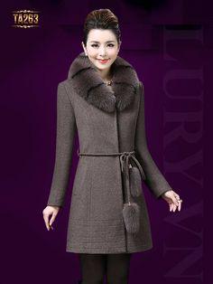 Đẹp sang chảnh với áo khoác dạ nữ cổ lông cao cấp