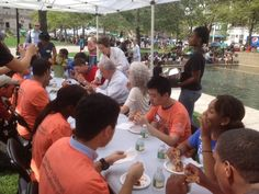 Boston Moves for Health Promotes Healthy Cooking: Mayor Menino joined two dozen teens for lunch at the Copley Square Farmers' Market 8/21 along with chef Didi Emmons, Red Sox star Ryan Lavarnway, and Barbara Ferrer of the Boston Public Health Commission.