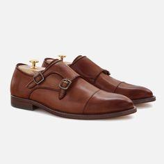 Men's Double Monk-Strap - Italian Calfskin Leather - Tan