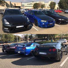 GTR gang spotted in Alberton by @xolisa_m #ExoticSpotSA #Zero2Turbo #SouthAfrica #Nissan #GTR #R35 #R34 #R33