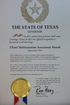 """TEXAS - """"Proclamation for September '14 as Chiari Malformation Awareness Month"""" Special thanks to Governor Rick Perry ."""