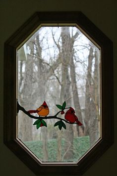 Cardinals On A Branch - Delphi Stained Glass maybe for the window above the front door Stained Glass Birds, Faux Stained Glass, Stained Glass Designs, Stained Glass Panels, Stained Glass Projects, Stained Glass Patterns, Leaded Glass, Mosaic Glass, Fused Glass