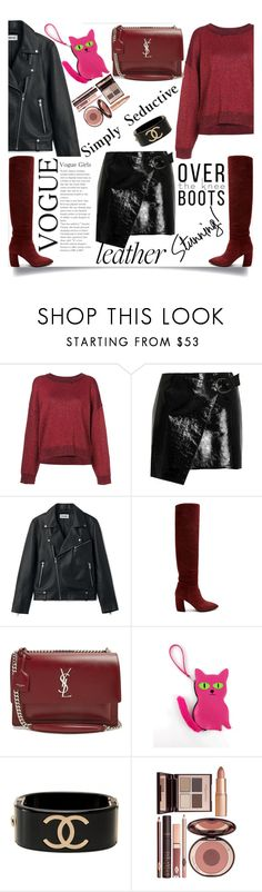 """Leather Skirt : Leather on Leather trend"" by aclassicstylejourney ❤ liked on Polyvore featuring RtA, Isabel Marant, Prada, Yves Saint Laurent, Chanel, Charlotte Tilbury, Leather, seductive and otk"
