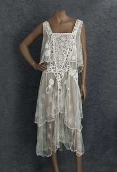 Mixed lace tea dress, c.1929 Front