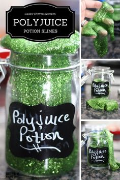 Whip up your own harry Potter potion slime making party activity for kids! Make slime with our super easy slime recipe and free potion labels! Kids science!