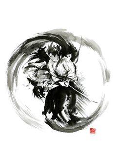 «Aikido techniques martial arts sumi-e black white round circle design yin yang ink painting watercolor artwork» de Mariusz Szmerdt
