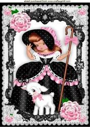 Bo Peep In Pink/black In Black Lace Frame With Roses A4
