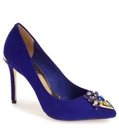 cute blue jeweled pumps