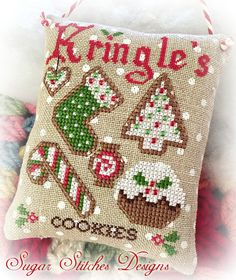Galletas Navidad de Kringle punto de Cruz por SugarStitchesDesign