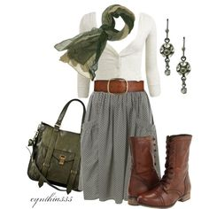 Button-front ribbed cardigan. Pocket Front Skirt.  Steve Madden Troopa boots.  Proenze Schouler Ps1 Tote.  1928 Jewelry, Celestial Shadow Crystal Cluster Earrings.  Fallen Leaf fashion scarf.  Co-Op Barney's New York buckle belt.  Polyvore.