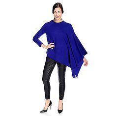 725-514 - Nancy O'Dell Mixed Stitch Knit Angel Sleeved Asymmetrical Hem Round Neck Sweater