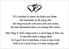 Bridal Shower Insert Poem Card: This white insert card is meant to be included in the envelope with your invitation. It features a lovely poem to p Bridal Shower Poems, Bridal Shower Registry, Rustic Bridal Shower Invitations, Tea Party Bridal Shower, Printable Baby Shower Invitations, Baby Shower Invites For Girl, Wedding Showers, Wedding Invitation, Honeymoon Shower