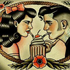 #love #loved #loveis #lovedup #rockabilly #milkshake #fifties #pinup #vintagepinup #pinupgirl #blackhair #bangs #barbershop #barber #grease #greasy #quiff #tattoo #tattoos #tattooed #art #tattooart #flash #flashart #ink #inked #getinked #traditional #tradition #sailorjerry