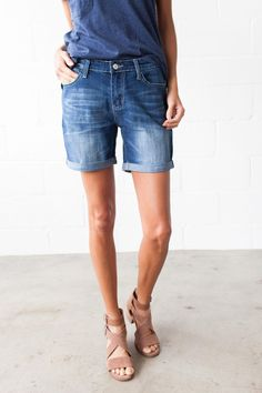 Our Boyfriend Denim Shorts feature the standard five pocket style, sewn cuffed hem, and contrast stitch detailing. - Unlined - 55% Cotton, 23% Rayon, 20% Polyester, 2% Spandex - Machine Wash Cold insi