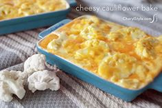 Baked Cheesy Cauliflower Casserole:  A low-carbs version of Mac and Cheese.  May add cooked crumbled bacon for extra zip ... but more calories.  Could also try with a bit of cayenne.....