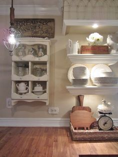 Love the lighted shelving.  Junk Chic Cottage