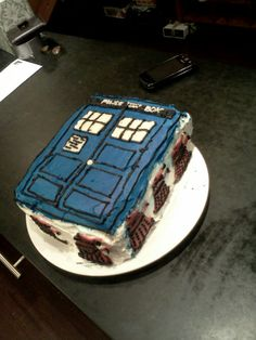 Tardis cake with chocolate daleks that I made for my sister's birthday!
