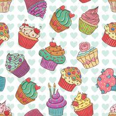 Cupcakes Vintage Wallpaper Art