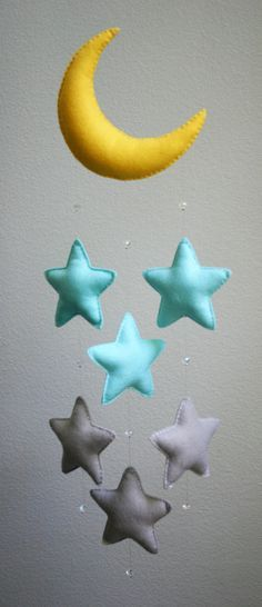 Modern Baby - Light Blue and Gray Felt Moon Mobile with Falling Stars & Crystal Beads - Handmade - Made To Order - Nursery Decor
