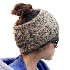 LOCOMO Women Girl Knit Cable Headband Hairband Head Wrap Crochet Hat Winter Warm FFH017 Brown Gray