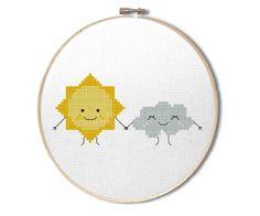 Sun and rain cloud cross stitch pattern : Cute by StompCreations