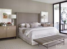 Contemporary Gray Bedroom with Upholstered Headboard - Luxe Interiors + Design Gray Bedroom, Bedroom Sets, Home Bedroom, Bedroom Decor, Master Bedroom, Celebrity Bedrooms, Modern White Bathroom, Interior Design Magazine, Guest Bedrooms