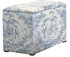 Image for Toile-de-Jouy Ottoman from Scotts of Stow