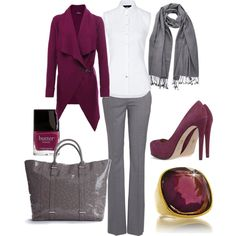 """This will go great with the Tourmaline Chips set! """"Gray and Magenta"""" by jmacsmith on Polyvore."""