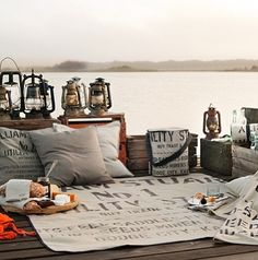 Picnic on a dock, Inspiration for Mobella Events, Wedding Planner, Event Planner, www.mobellaevents.com