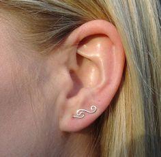 Mini single wave silver ear climber, ear bobby pins, cuff earring ear sweep