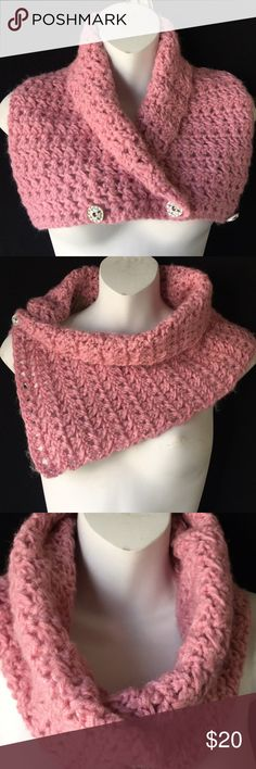 Pink cowl/neck warmer Handmade crochet neck warmer, made with pink acrylic yarn, measures 28 inches long and 9 inches wide, new with no tags since it's handmade Accessories Scarves & Wraps