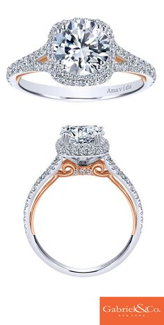Your bride-to-be deserves a stunning engagement ring. Every detail counts when it comes to something so beautiful like this Amavida Collection 18k white and rose gold diamond halo contemporary engagement ring. Discover this perfect ring or customize your own on our website.